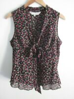 Trina Turk Silk Blouse Womens Size M Front Tie Top