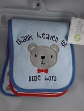 New Baby Gear 3 Pc THANK HEAVEN FOR LITTLE BOYS & Bear Terrycloth Burp Cloth Set