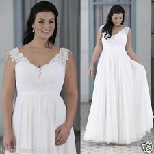 Perfect White/Ivory V neck Chiffon Wedding Dress Beach Bridal Gown Plus size