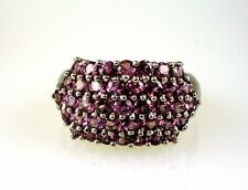 Natural Raspberry Rhodolite Garnet Five Row Band 925 Sterling Silver Size 8 3/4