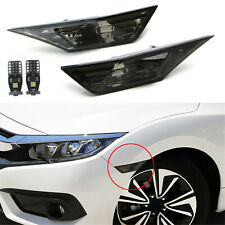 FOR 2016-2020 HONDA CIVIC SMOKED SIDE MARKER LAMP TURN SIGNAL LIGHT W/ LED BULBS