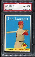 1958 Topps Baseball #64 JOE LONNETT Philadelphia Phillies PSA 6 EX-MT