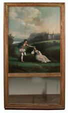 Louis Xvi gold gilt trumeau mirror, the painting at the top is a land. Lot 208