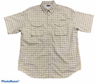 Men's COLUMBIA Brown Yellow Plaid Button Up Shirt Short Sleeve Size Large L