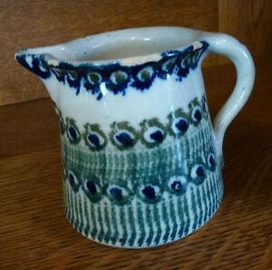 alte Bunzlau Kanne - bäuerliche Keramik  schöne Patina - Milchkrug - Pfauenauge