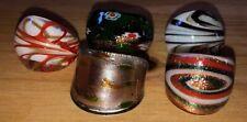 Job Lot 5 x Murano Style Blown Glass Dome Glitter Rings