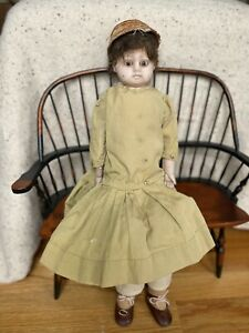 """Wax Over Composition Antique Doll 21"""" Original Clothing 1800's"""