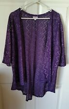 LuLaRoe Lindsay Kimono Large L Lace Dark Purple Plum Jacket Cover-up Beautiful