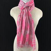 Aerie scarf pink gray leaf pattern 75 x 23 accordion pleats long neck fashion