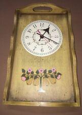 "Vintage Seth Thomas Pear Tree Tray Clock Kienzle Rutland E303-000 13.5x8.5"""