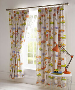 """Cars and Transport Fully Lined Curtains (54"""" drop x 66"""" wide)"""