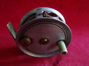 """SCARCE 2 3/4"""" UNNAMED SMITH AND WALL MADE PATTERN 1 TROUT FLY REEL + RED AGATE"""