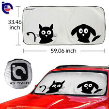 Dogs Foldable Jumbo Sun Shade SUV Front Window Car Visor Windshield Block Cover