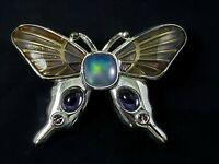 Vintage Monet Blue Purple Rhinestone Butterfly Brooch Pin Enamel Silver Tone