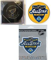"2020 NHL ALL STAR PATCH / PIN & GAME PUCK ""HOME OF THE ST LOUIS BLUES"" + CASE"