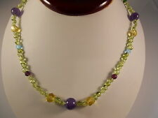 Green Peridot And Purple Amethyst Sterling Silver Clasp Necklace