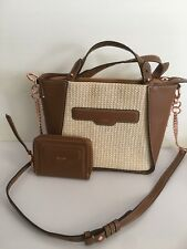 Mimco Leather Illusion  Hip Across body Hand Bag BNWT Straw Matching Wallet