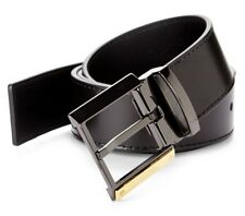 VERSACE Collection Signature Black Leather Belt Size 48 120 / 135 $295 Italy
