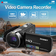 Incosky 1080P FHD Digital Video Camera Camcorder 16×Zoom TFT LCD Screen DV 24MP