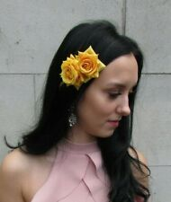 Double Mustard Yellow Rose Flower Hair Clip Fascinator Races Floral Wedding 7537
