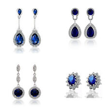A22 Dark Sapphire Blue Vintage Style Drop Studs Earrings Earwear for Party Prom