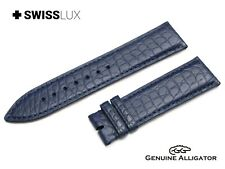 Crocodile Alligator Leather For ETERNA Watch NAVY BLUE Strap Band Buckle/Clasp