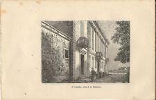 Stampa antica LECCO Veduta di VILLA MANZONI sede Musei Civici 1894 Antique print