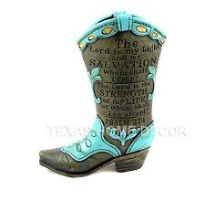 Western Boot Flower Vase Planter Turquoise PSALM: 27:1 Inspirational Cross