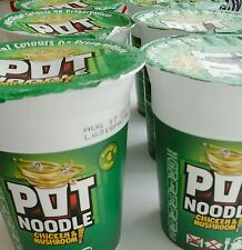6 cups Pot Noodles chicken and mushroom flavour Ready in 1 minute delicious