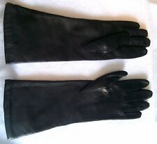VINTAGE LADIES BLACK LEATHER WINTER GLOVES ACRYLIC LINING SIZE 6.5 MADE IN ITALY