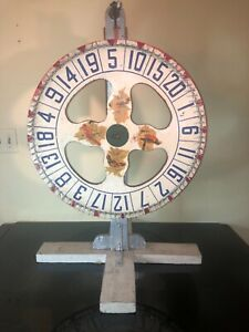 """Vintage 1950s Wood Carnival GAMING Chance 24 """" diameter WHEEL with Stand"""