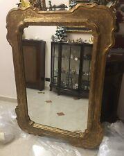 Antica Specchiera del 1800 Legno Massello Foglia D Oro Con Intarsi 101x135 Cm