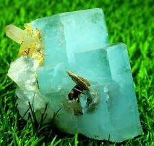 516 Gm Terminated & Natural Sky Blue Aquamarine Crystal Cluster wth Smoky Quartz