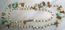 "VINTAGE MIRIAM HASKELL NECKLACE QUARTZ. CORAL AND BLUE GLASS STONE  28"" LONG"