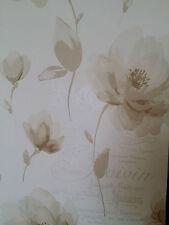 Nuevo Diseñador Marsella Crema & Beige/Taupe Floral Hoja Flor Papel Pintado Metálico