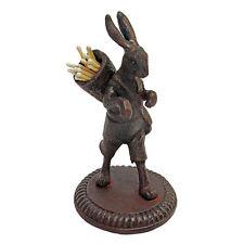 Vintage Solid Iron Hare Rabbit Cast Iron Replica Matchstick Holder Animal Statue