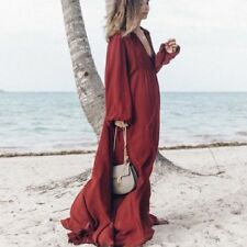 ZARA STUDIO MAROON BURGUNDY MAXI FLOWING DRESS SIZE S SMALL 8