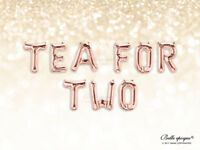 "Tea For Two Rose Gold Balloons, Letters Foil 16"" Mylar Wedding, Party, Birthday"