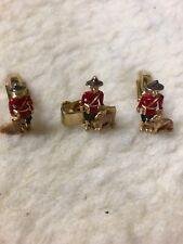 Vintage Sarah Coventry Royal Mountie Cuff Links & Tie Clip Dog Canadian  Signed