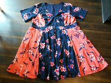 eShakti dress NWOT navy/orange  two-tone floral crepe pockets 4X