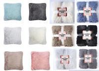 Cosy HUG & SNUG Fluffy Fur Throws Blanket Sofa Bed Throw Matching Cushion Covers