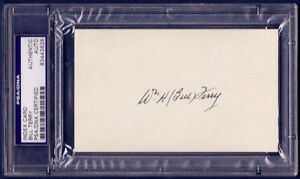 Bill Terry Signed 3x5 Index Card PSA/DNA Slabbed Auto HOF