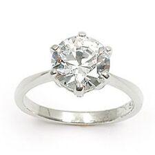 Bague Rhodié T60 Solitaire Diamant Cz Multifacette 9mm Argent 925 Dolly-Bijoux