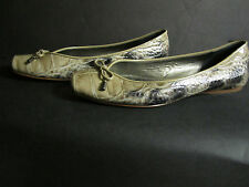 LINEA PAOLO Patent Leather Ballet Flats 8 ½ M tan black Faux Croc Reptile VGUC