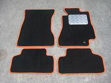Tapis De Sol Voiture noir/Orange pour Toyota Supra Mk4 RHD 93 on + Plaque Striée
