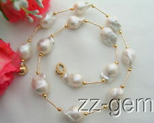 N1104038 13x18MM Nucleated Flameball Baroque Pearl Necklace