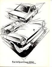 1969 FIAT 124 SPORT COUPE  ~  NICE ORIGINAL PRINT AD