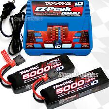 NEWEST VERSION Traxxas EZ-PEAK DUAL Charger & (2) 3S 5000mAh 3s Lipo batteries