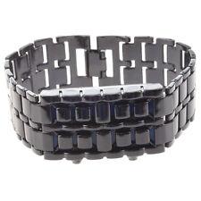 Blue LED Digital Black Lava Style Wrist Watch Iron Metal Samurai Men with B U5L3