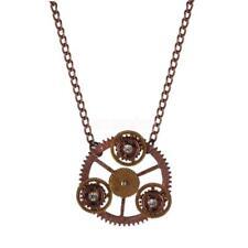 Steampunk Halskette mit Strass Zahnräder Anhänger Geschenk Ancient Rot
